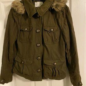 Delias Army Short Olive Pea Coat- XL